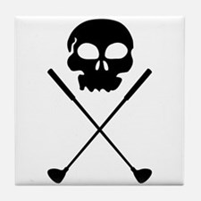 Golf Skull Crossed Clubs Tile Coaster