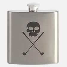 Golf Skull Crossed Clubs Flask