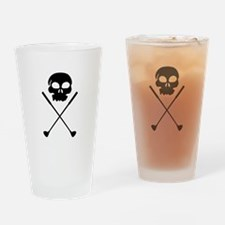 Golf Skull Crossed Clubs Drinking Glass