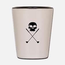 Golf Skull Crossed Clubs Shot Glass