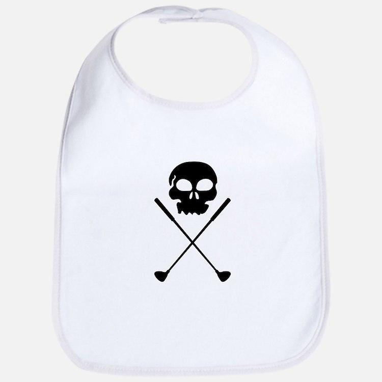 Golf Skull Crossed Clubs Bib