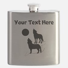 Coyotes Howling Silhouette Flask