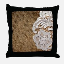 shabby chic burlap lace Throw Pillow