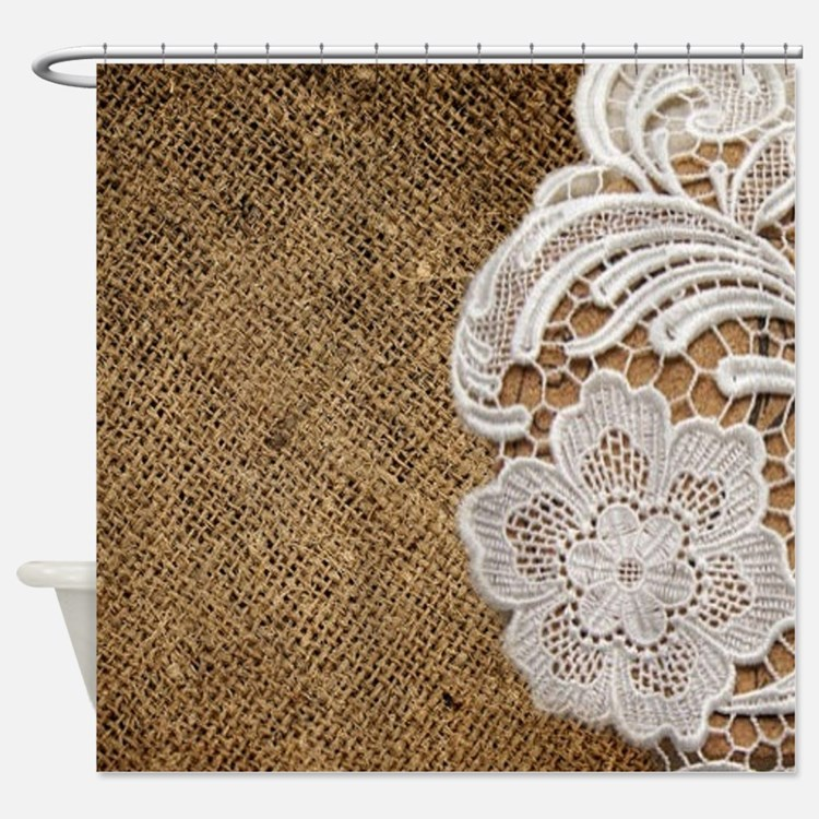 Vintage White And Brown Shower Curtains   Vintage White And Brown ...
