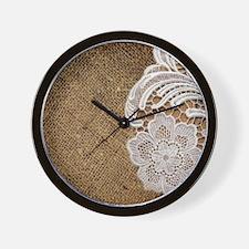 shabby chic burlap lace Wall Clock