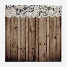 shabby chic lace barn wood Tile Coaster