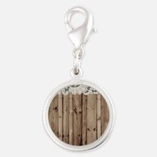 shabby chic lace barn wood Silver Round Charm