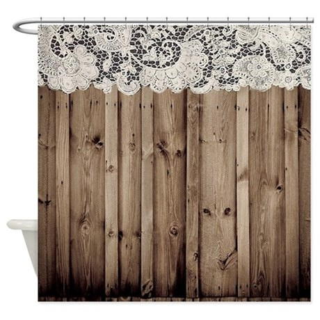 Shabby chic lace barn wood shower curtain by listing store for Shabby chic rhinestone shower hooks