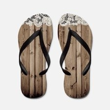 shabby chic lace barn wood Flip Flops