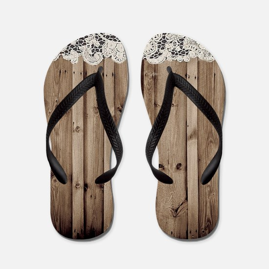 shabby chic lace barn wood Flip Flops