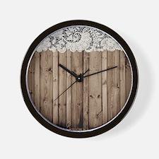 shabby chic lace barn wood Wall Clock