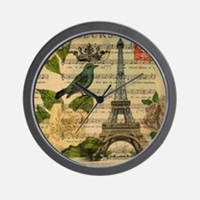 french botanical paris eiffel tower Wall Clock