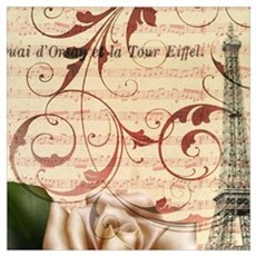 girly rose eiffel tower paris Poster