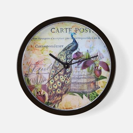 purple orchid birdcage peacock Wall Clock
