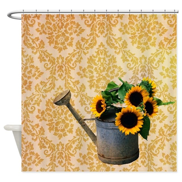 Yellow Damask Primitive Sunflower Shower Curtain By