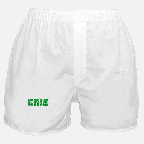 Erik Name Weathered Green Design Boxer Shorts
