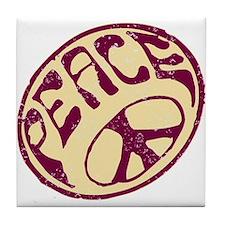 Distressed Peace Symbol #V12 Tile Coaster