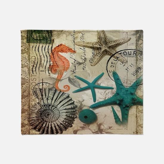french beach sea shells Throw Blanket