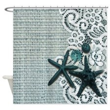 beach starfish blue burlap  Shower Curtain