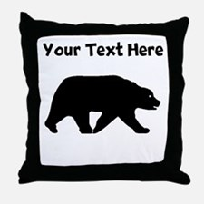 Bear Walking Silhouette Throw Pillow
