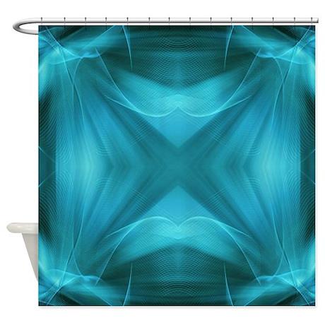 teal geometric pattern ikat shower curtain