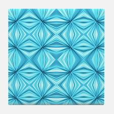 turquoise diamond  geometric pattern Tile Coaster