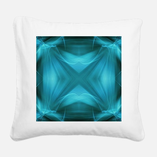 teal  geometric pattern ikat  Square Canvas Pillow