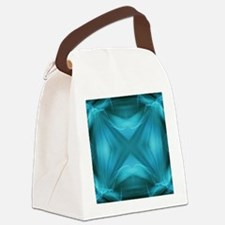 teal  geometric pattern ikat  Canvas Lunch Bag