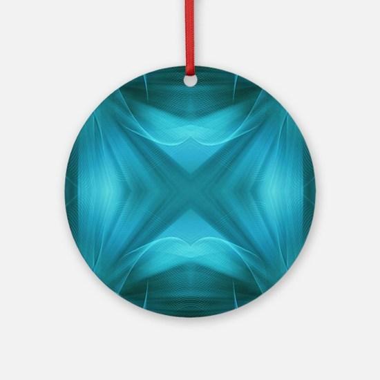 teal  geometric pattern ikat  Round Ornament