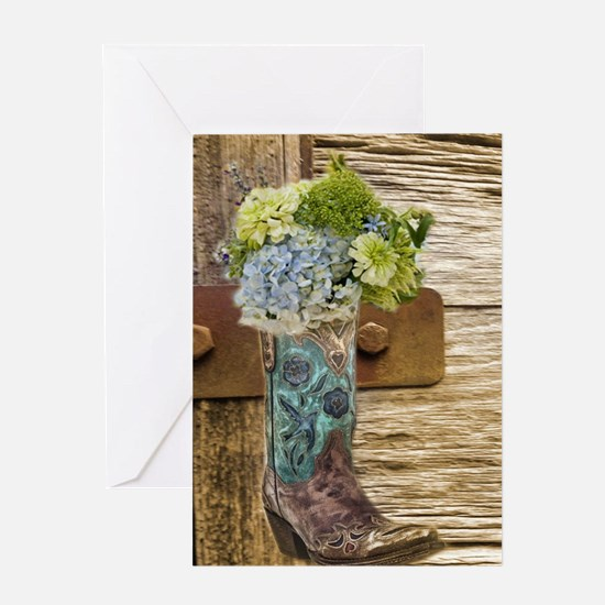 flower western country cowboy boots Greeting Cards
