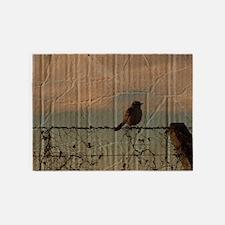 farm fence landscape bird 5'x7'Area Rug