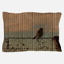 farm fence landscape bird Pillow Case