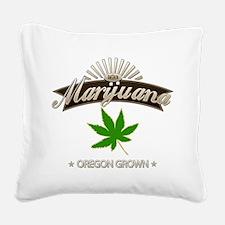 Smoking Oregon Grown Marijuan Square Canvas Pillow