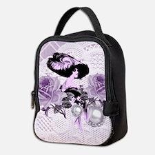 Lovely Lavender Lady Vintage Neoprene Lunch Bag