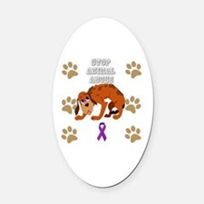 Cool Animal abuse Oval Car Magnet