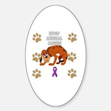Unique Stop animal abuse Sticker (Oval)