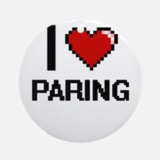 I Love Paring Round Ornament