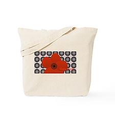 Retro Bright Red Anemone Floral Tote Bag