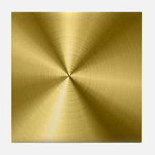 Metallic Faux Gold Stainless Steel Lo Tile Coaster