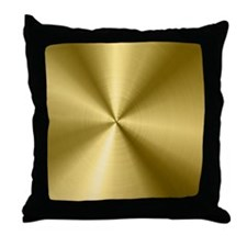 Metallic Faux Gold Stainless Steel Lo Throw Pillow