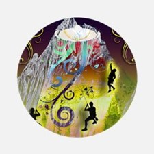 Mountain Spotlight on Rock Climbers Round Ornament