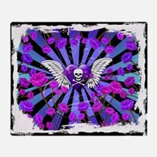Tattoo Skull Purple Roses Angel Wing Throw Blanket