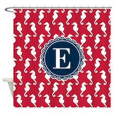Red White Seahorse Pattern Blue Monogram Shower Cu