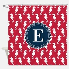 Red White Seahorse Pattern Blue Monogram Shower Cu