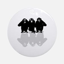 Cute Chimp no evil Round Ornament