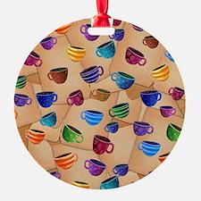 Colorful Coffee Mug Design Whimsica Ornament