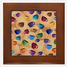 Colorful Coffee Mug Design Whimsical C Framed Tile