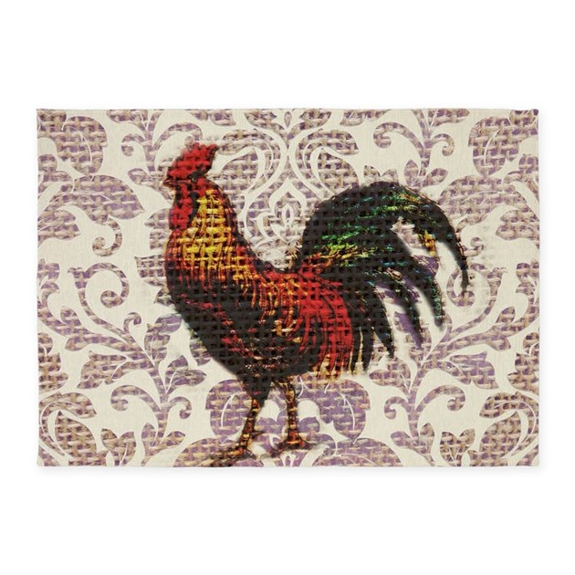 French Country Vintage Rooster 5'x7'Area Rug By ADMIN
