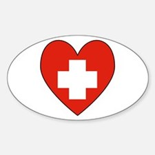 Swiss Flag Heart Oval Decal