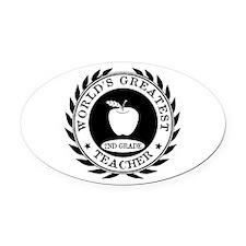 World's Greatest 2nd Grade Teacher Oval Car Magnet